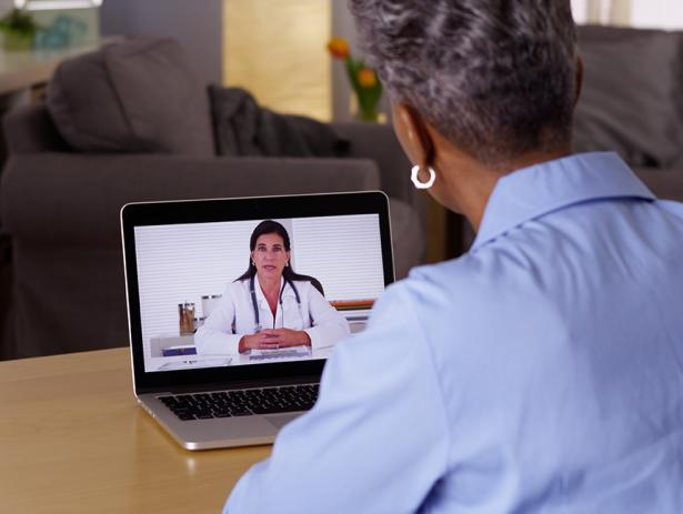 Woman on telehealth video call